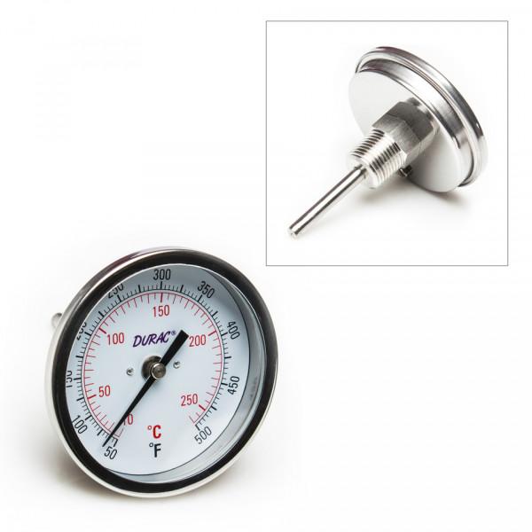 SP Bel-Art, H-B DURAC Bi-Metallic Dial Thermometer; 10 to 260C (50 to 500F), 1/2 in. NPT Threaded Co
