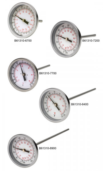 SP Bel-Art, H-B DURAC Bi-Metallic Dial Thermometer; 10 to 260C (50 to 500F), 1/2 in. NPT Threaded Connection, 75mm Dial