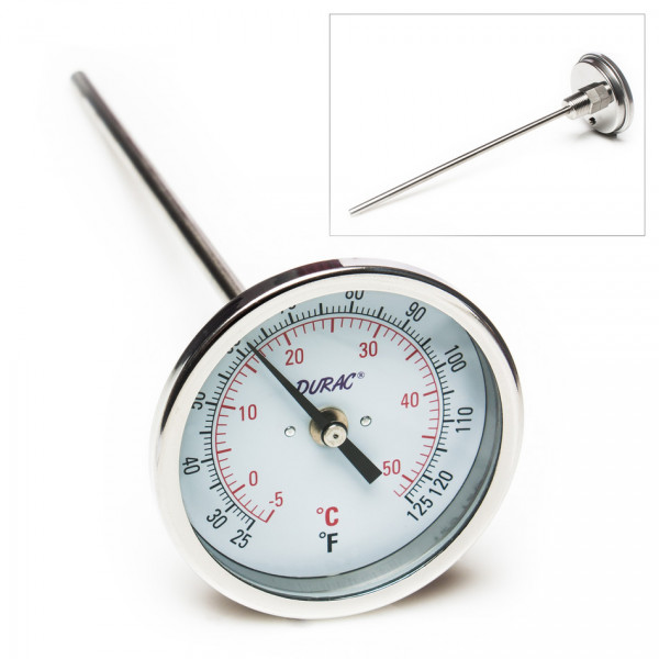 SP Bel-Art, H-B DURAC Bi-Metallic Dial Thermometer; 0 to 50C (25 to 125F), 1/2 in. NPT Threaded Conn
