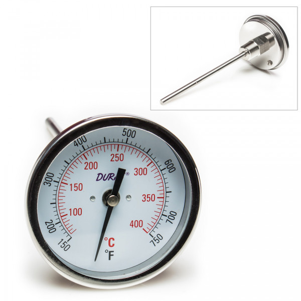 SP Bel-Art, H-B DURAC Bi-Metallic Dial Thermometer; 70 to 400C (150 to 750F), 1/2 in. NPT Threaded Connection, 75mm Dial