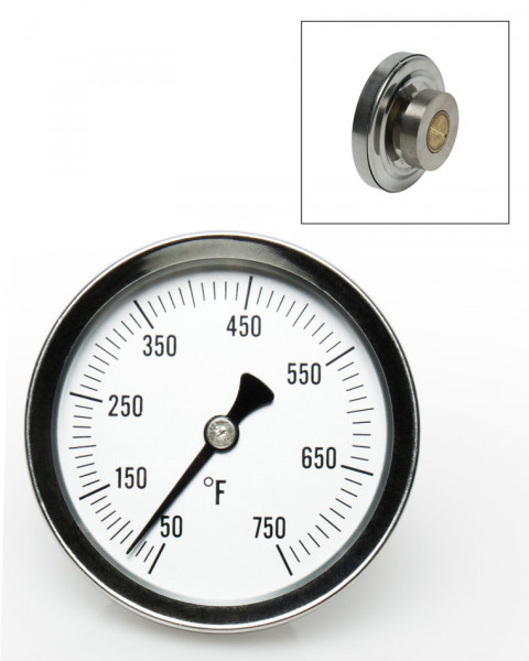 SP Bel-Art, H-B DURAC Bi-Metallic Surface Temperature Thermometer; 50/750F, 64mm Dial, Single Magnet