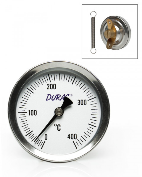 SP Bel-Art, H-B DURAC Bi-Metallic Surface Temperature Thermometer; 0/400C, 64mm Dial, Single Thin Spring