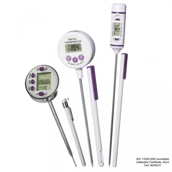 SP Bel-Art, H-B DURAC Calibrated Electronic Stainless Steel Stem Thermometer, -50/300C (- 58/572F), 127mm (5 in.) Probe