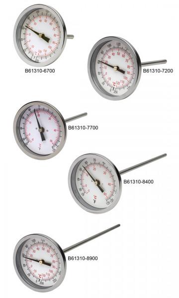 SP Bel-Art, H-B DURAC Bi-Metallic Dial Thermometer; 0 to 50C (25 to 125F), 1/2 in. NPT Threaded Conn