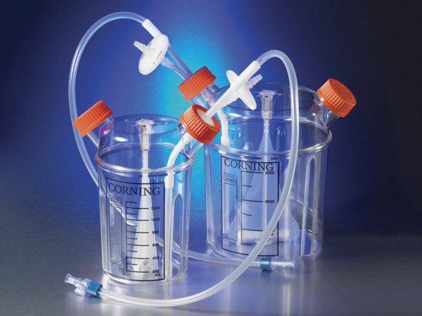Corning® 1L Disposable Spinner Flask, Solid Cap and Aseptic Transfer Cap, Sterile