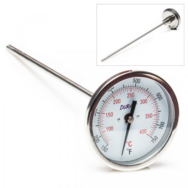 SP Bel-Art, H-B DURAC Bi-Metallic Dial Thermometer; 60 to 400C (150 to 750F), 1/2 in. NPT Threaded Connection, 75mm Dial
