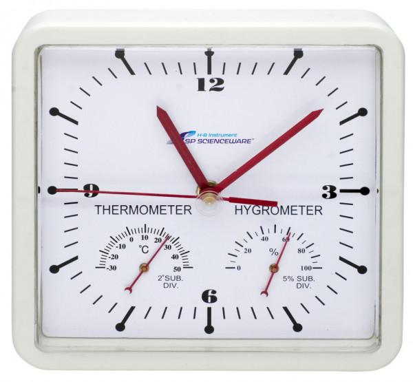 SP Bel-Art, H-B DURAC Thermometer-Hygrometer Square Clock; -30/50C
