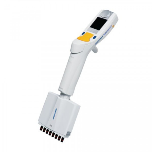 Eppendorf Xplorer plus, 8- channel, 15-300 µL, multifunc- tion rocker switch orange for pipette tips 300 µL