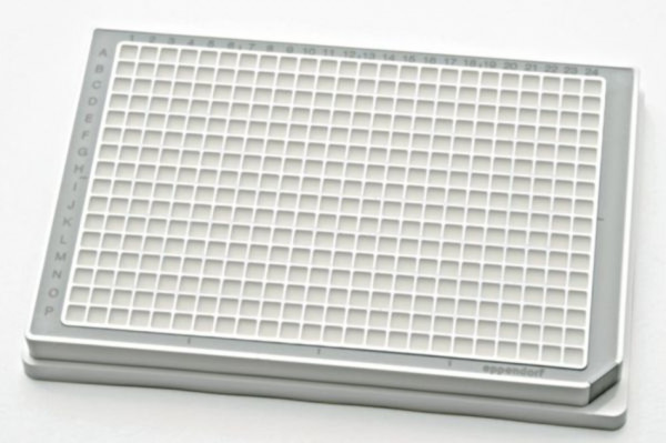 Eppendorf Microplate 384/V-PP, white wells, border color grey, PCR clean, 80 plates (5x 16 pcs.)