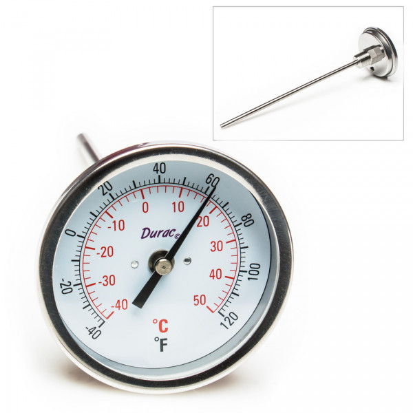 SP Bel-Art, H-B DURAC Bi-Metallic Dial Thermometer; -40 to 50C (-40 to 120F), 1/2 in. NPT Threaded Connection, 75mm Dial