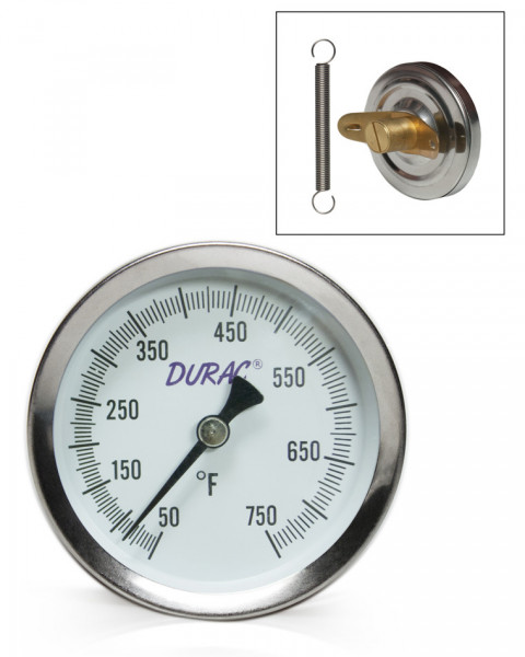 SP Bel-Art, H-B DURAC Bi-Metallic Surface Temperature Thermometer; 50/750F, 64mm Dial, Single Thin S