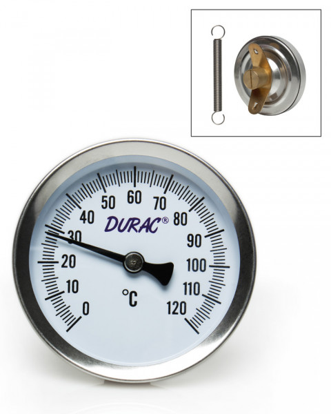 SP Bel-Art, H-B DURAC Bi-Metallic Surface Temperature Thermometer; 0/120C, 64mm Dial, Single Thin Spring