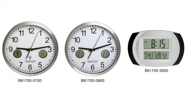 SP Bel-Art, H-B DURAC Multi-Function Analog Clock with Indoor/Outdoor Thermometer and Min/Max Memory
