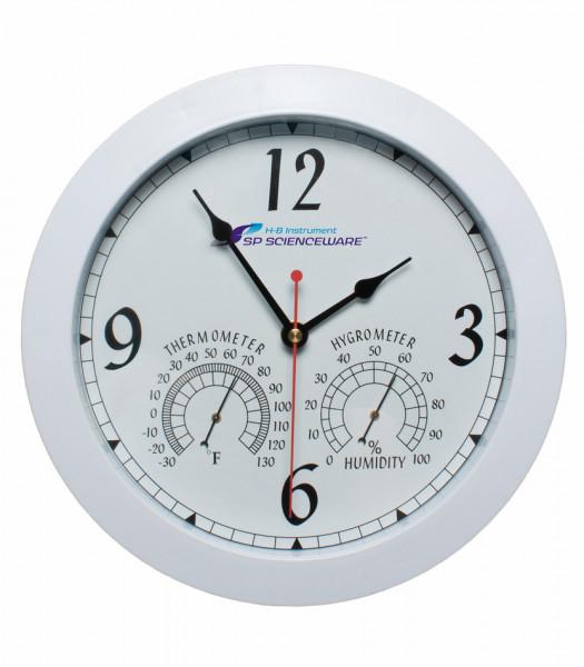 SP Bel-Art, H-B DURAC Thermometer-Hygrometer Round Clock; -30/130F