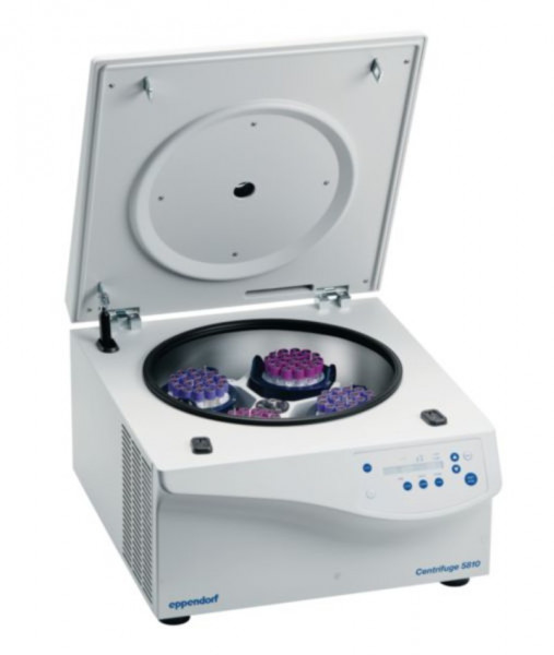 Eppendorf Centrifuge 5810 230V/50-60Hz with rotor S-4-104 incl. ad- apter for round-bottom tubes diameter 13 / 16 mm